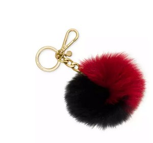 Michael Kors Michael Kors Bicolor Fur Pom Charm Keychain Red Black Box NWT