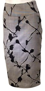 Julian Chang Glen Plaid Check Distressed Couture One-of-a-kind Pencil Skirt Black and White