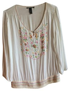 Lucky Brand Top White with colored embroidery
