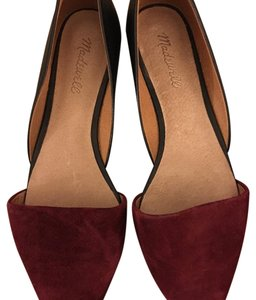 Madewell cranberry and black Flats