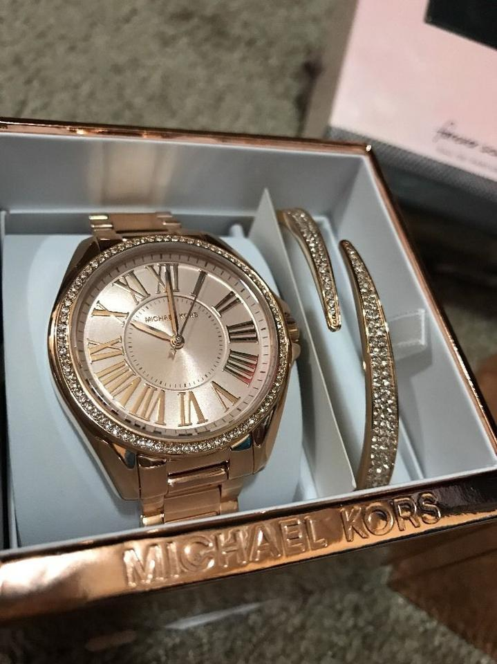 cb17d2821509 Michael Kors Rose Gold Kacie Stainless Gold-tone Mk3569 and Bracelet Gift  Set Watch - Tradesy