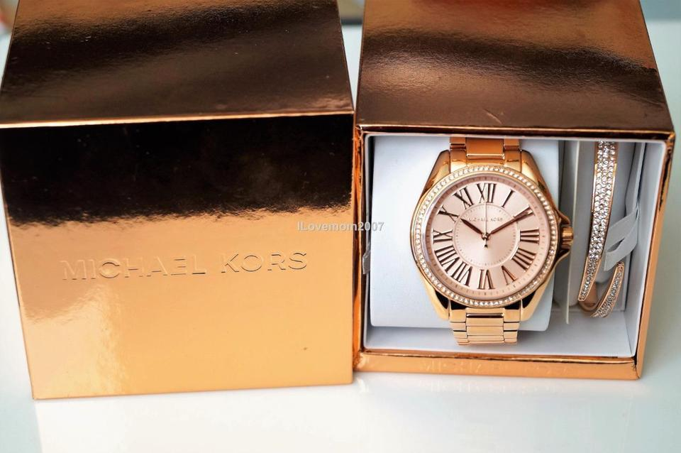 7c5fbff5a0e9 Michael Kors Kacie Stainless Rose Gold-Tone MK3569 Watch and Bracelet Gift  Set Image 7. 12345678