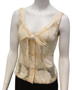 Guy Laroche Sheer Velvet Pearl Bow Tie Top Ivory