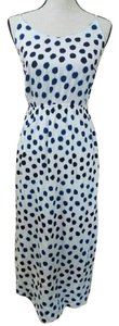 White with Black, Purple and Blue Dots Maxi Dress by Old Navy