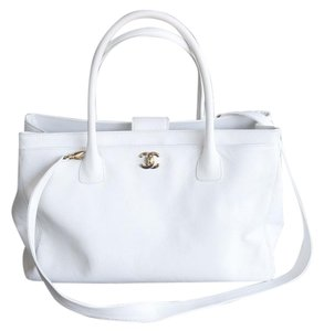 Chanel Shopping Cavier Leather Tote in White