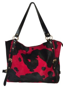 Cavalcanti Hobo Animal Fur Patent Leather Leather Animal Print Tote in red and black