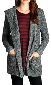 Women Fashion Cardigan Knit Charcoal Jacket