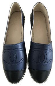 Chanel Navy Blue and Black Flats