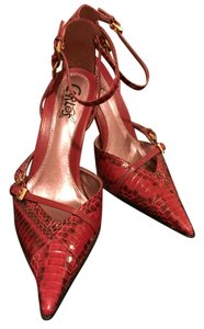 Carlos by Carlos Santana Leather Heels Red Pumps