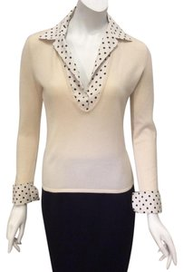 Ralph Lauren Black Label Cashmere Polka Dot V Neck Ivory Sweater