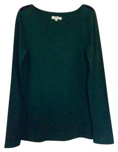 Madewell Top Deep emerald green with navy embellishments