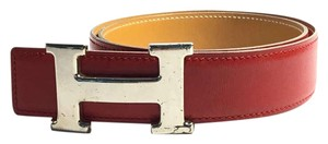Herms Authentic Hermes H Buckle Red Belt