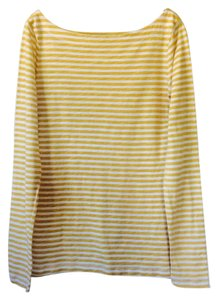 Ann Taylor LOFT Top Mustard and white striped