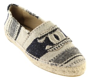 Chanel Espadrilles Fashion Affordable Navy, Grey, and Off-White Flats