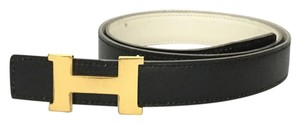 Hermès Black and White Reversible Constance Belt
