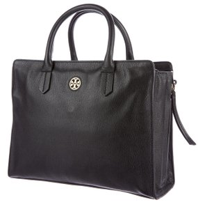 Tory Burch Textured Amanda Gold Hardware Reva Thea Tote in Black, Gold