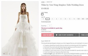 White By Vera Wang White By Vera Wang Strapless Tulle Wedding Dress(vw351197) Wedding Dress