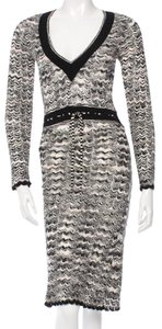 Missoni Knit Striped Chevron V-neck Longsleeve Dress