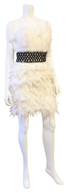 Preload https://img-static.tradesy.com/item/20481582/showtime-collection-white-black-silver-feather-mini-cocktail-dress-size-2-xs-0-1-650-650.jpg