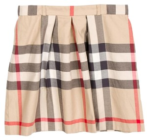 Burberry Nova Check Plaid Leather Wrap Monogram Skirt Beige, Black, Red