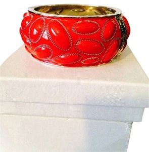 Neiman Marcus Red Puff Hinged Bangle Bracelet