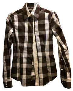 Dolce&Gabbana Button Down Shirt brown and white check