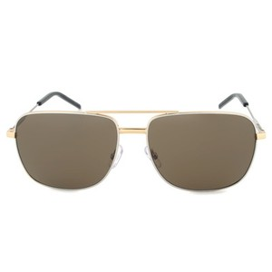 Saint Laurent Classic 12 Pilot Gold-Tone Sunglasses with Brown Lens