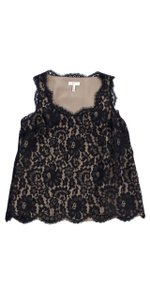 Joie Black Taupe Lace Overlay Top