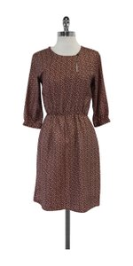 Steven Alan short dress Burgundy Cream Print Silk on Tradesy