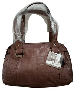 B. Makowsky Leather Color Silver Hardware Croc Embossed Satchel in Toffee
