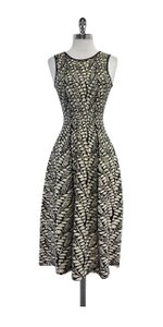 ISSA London Cream Black Print Knit Sleeveless Dress