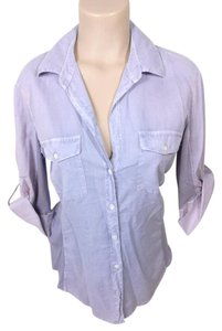 James Perse Button Down 3/4 Sleeve Top BLUE AND PINK