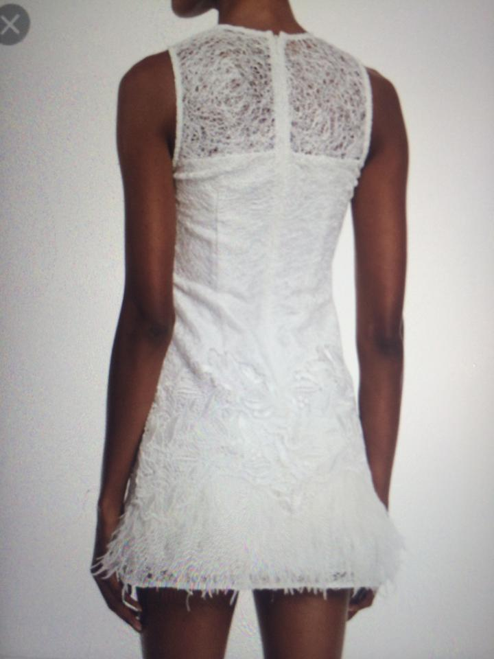a5222320b485 Alexis White Lizzy Sleeveless Feather-trim Lace Short Cocktail Dress Size 4  (S) - Tradesy
