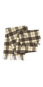 Burberry Cream & Brown Plaid Cashmere Scarf