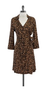Diane von Furstenberg short dress Tan & Black Silk Wrap on Tradesy