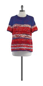 Tory Burch Blue Red White Cotton Sweater