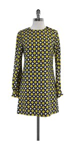 MILLY short dress Black Yellow & White Geo Print Silk Shift on Tradesy