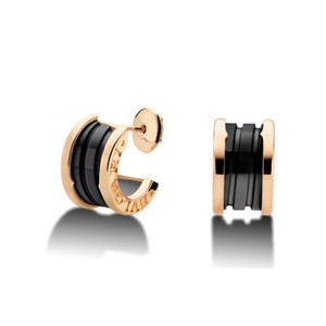 BVLGARI Bvlgari 18K Pink Gold Black Ceramic Earrings