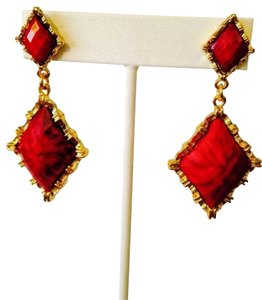 Amrita Singh Red Faceted Drop Earrings
