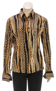 Roberto Cavalli Button Down Shirt Black/Gold