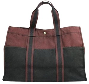 Herms Tote in Black/Burgundy
