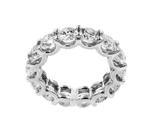 Unique Jewelery 14K White Gold Diamond Round Cut 5.30CT Ladies Ring