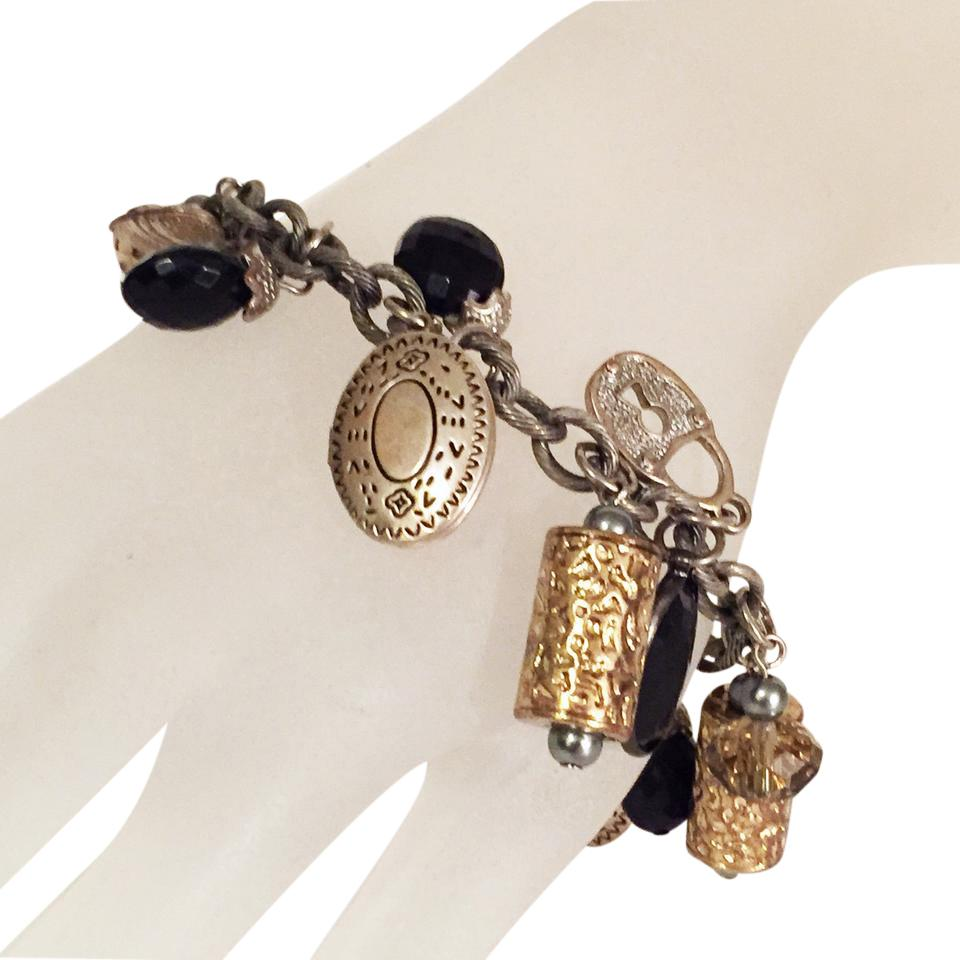 J Jill Locket Toggle Charm Bracelet Silver Tone Onyx Heavy