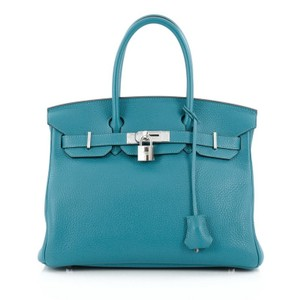 Herms Hermes Leather Tote in Blue