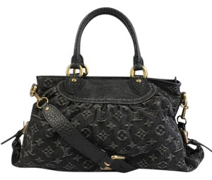 Louis Vuitton Tote Leather Black Satchel in Black Monogram