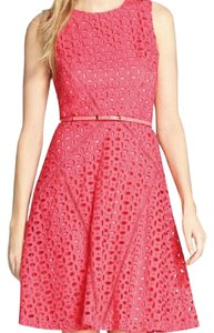 Ellen Tracy Eyelet Fit-and-flare Belted Dress