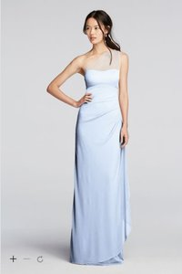 David's Bridal Ice Blue Long Mesh One Shoulder Illusion Dress- F19074 Dress