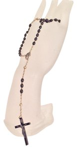 vintage Sterling silver black oval beaded rosary necklace