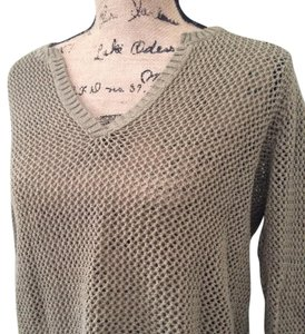 Eddie Bauer Classic Open Knit Vneck See Through Muted Sweater