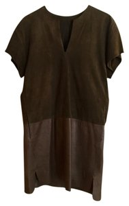 Vince Leather Suede Shift Dress